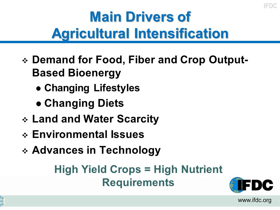 Main Drivers of Agricultural Intensification
