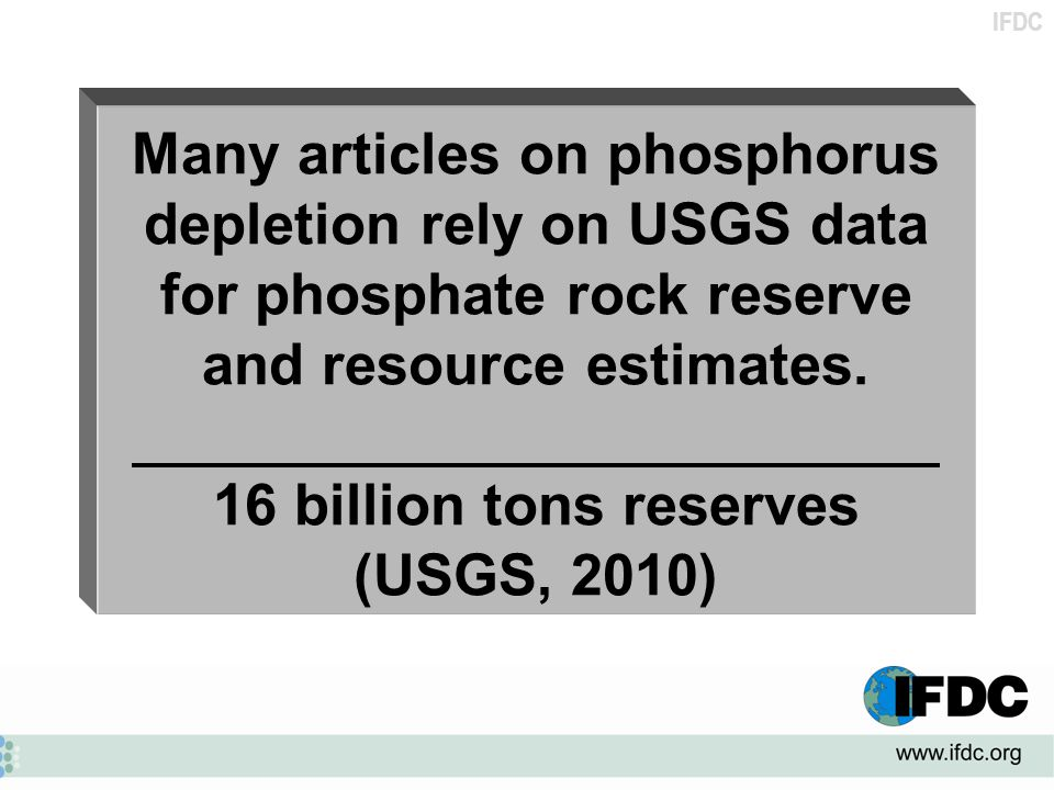 Many articles on phosphorus depletion rely on USGS data for phosphate rock reserve and resource estimates.