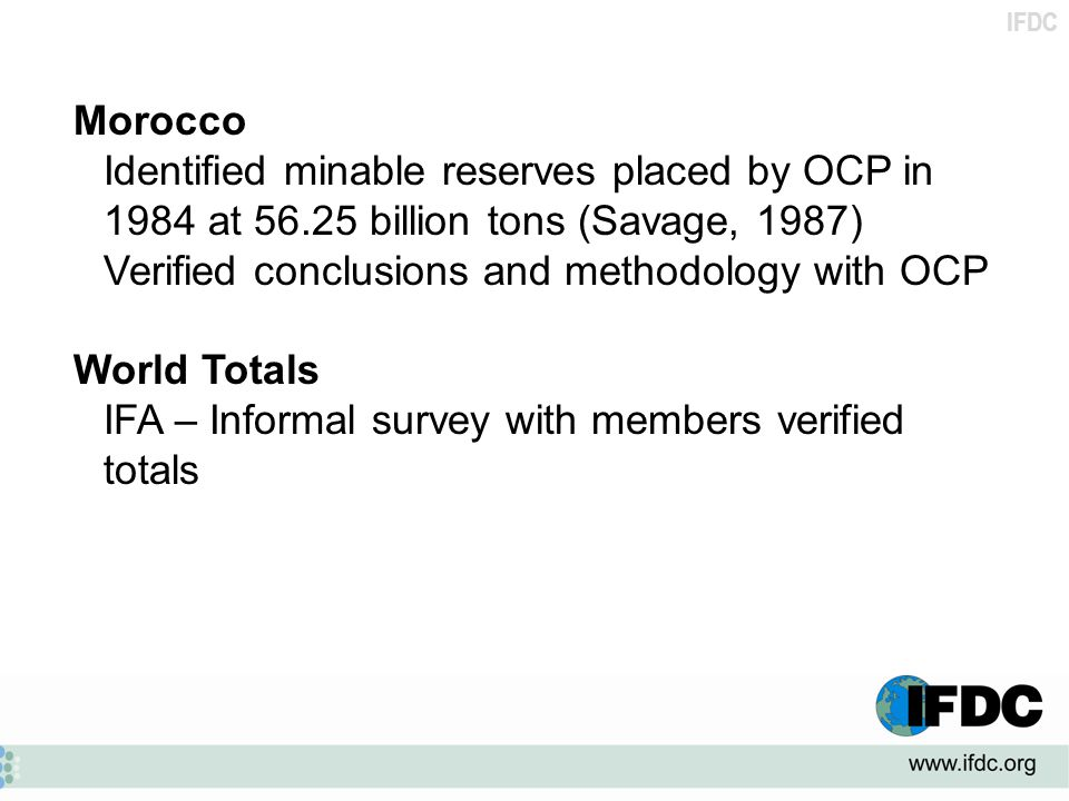 Morocco Identified minable reserves placed by OCP in 1984 at 56.25 billion tons (Savage, 1987) Verified conclusions and methodology with OCP.