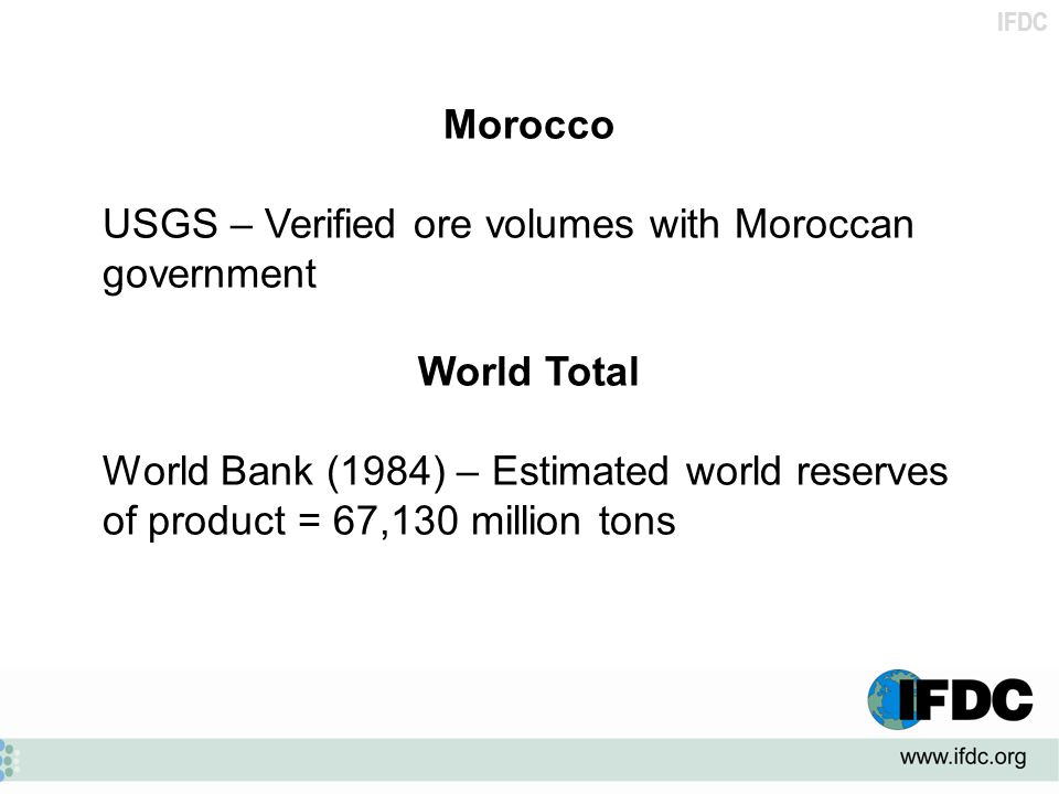 Morocco USGS – Verified ore volumes with Moroccan government. World Total.