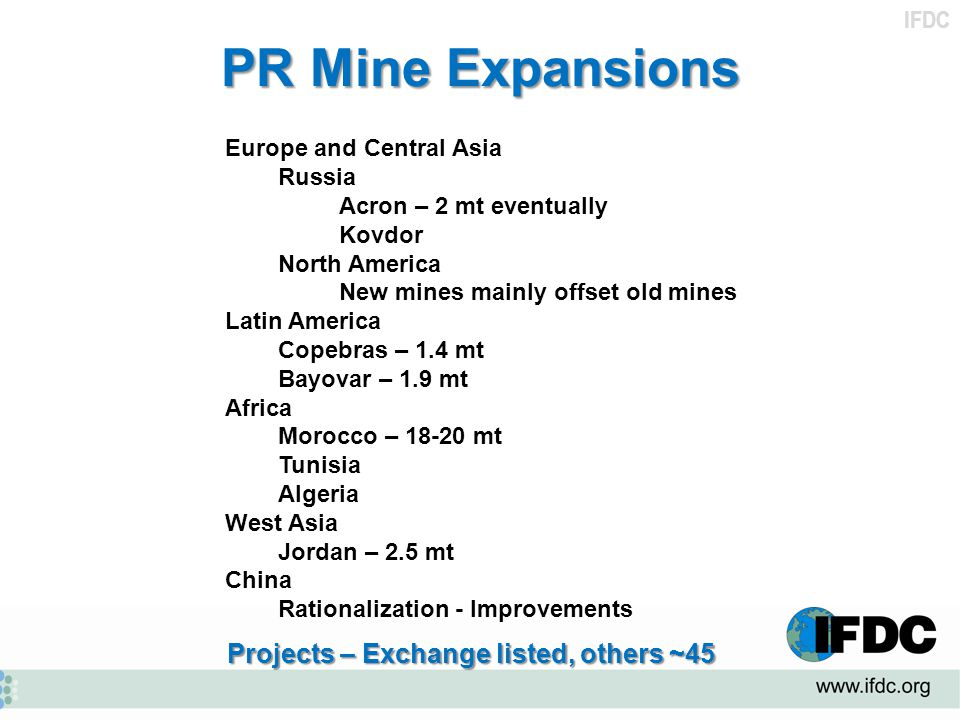 PR Mine Expansions Projects – Exchange listed, others ~45