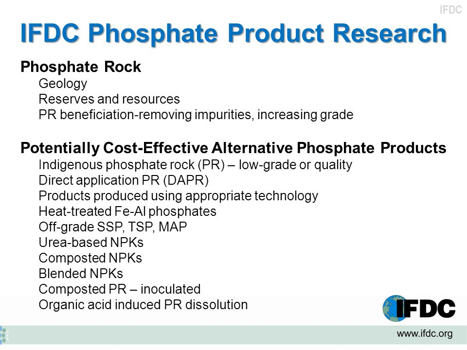 IFDC Phosphate Product Research