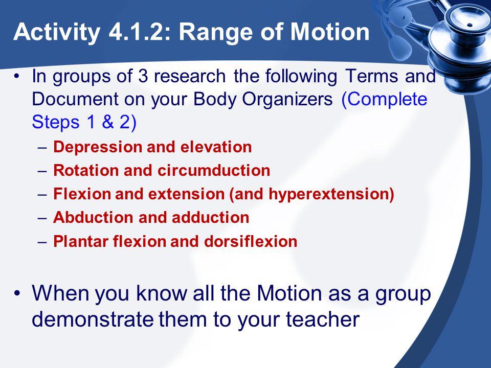 Activity 4.1.2: Range of Motion