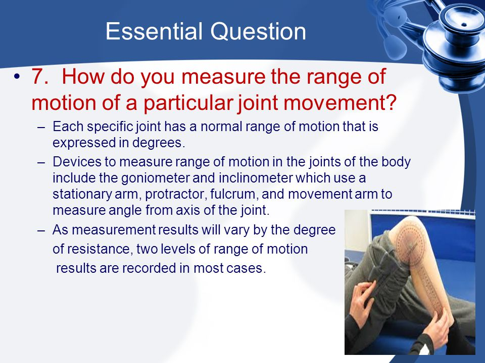 Essential Question 7. How do you measure the range of motion of a particular joint movement
