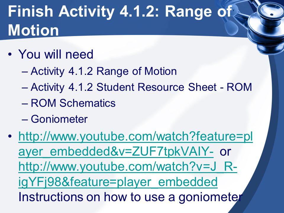 Finish Activity 4.1.2: Range of Motion
