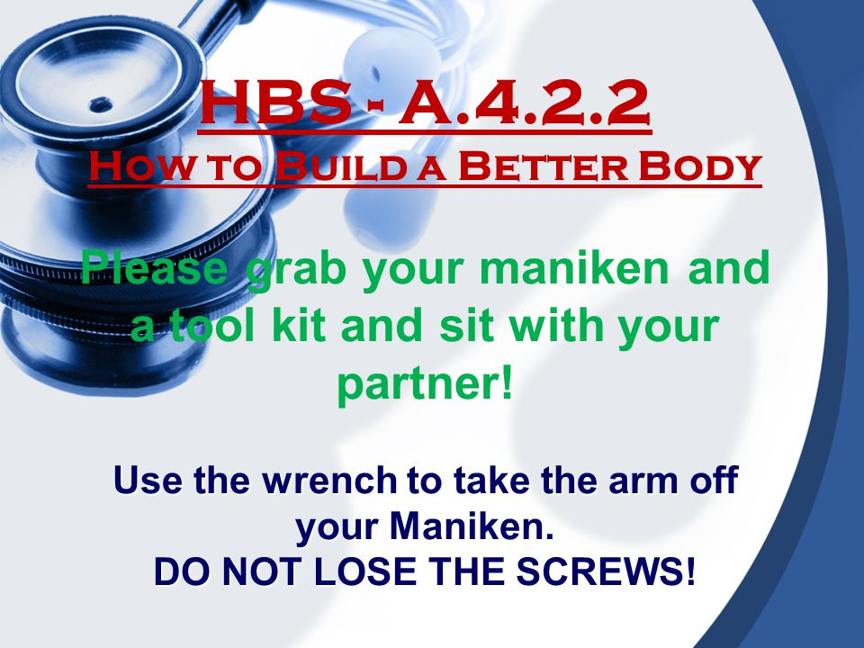 HBS - A.4.2.2 How to Build a Better Body. Please grab your maniken and a tool kit and sit with your partner!