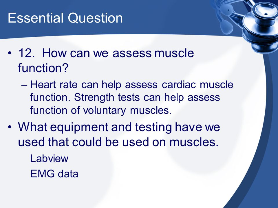 Essential Question 12. How can we assess muscle function