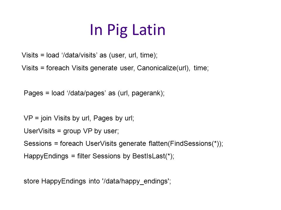 In Pig Latin Visits = load '/data/visits' as (user, url, time);