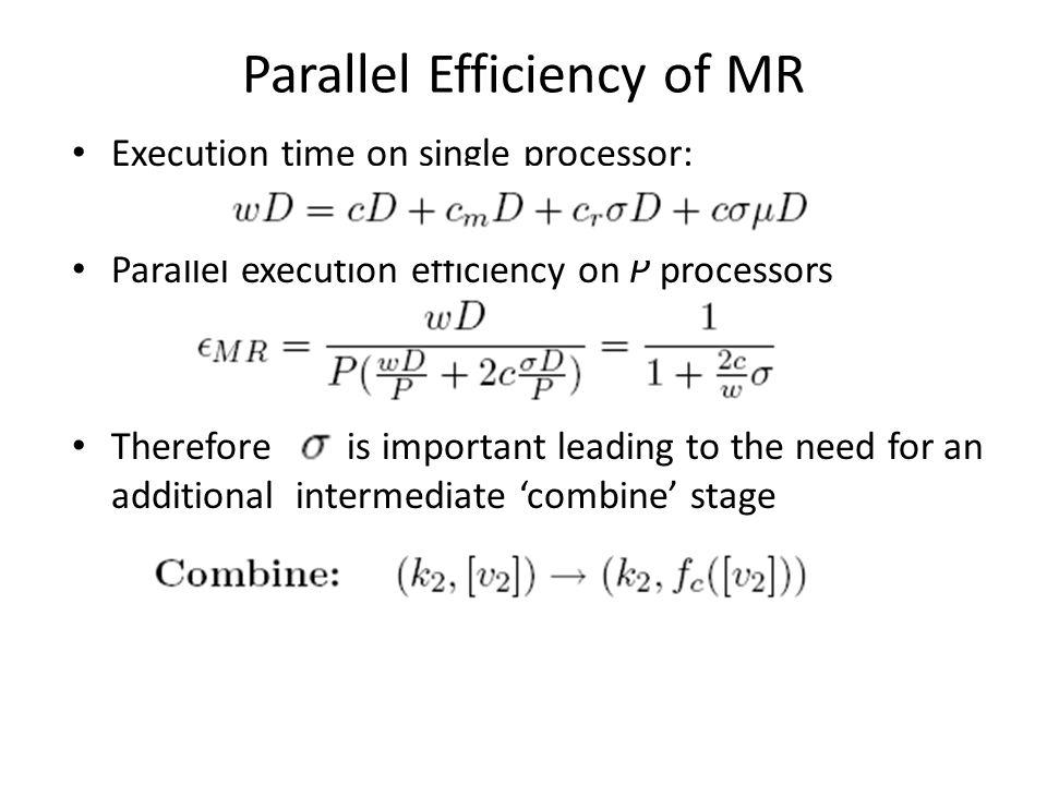 Parallel Efficiency of MR