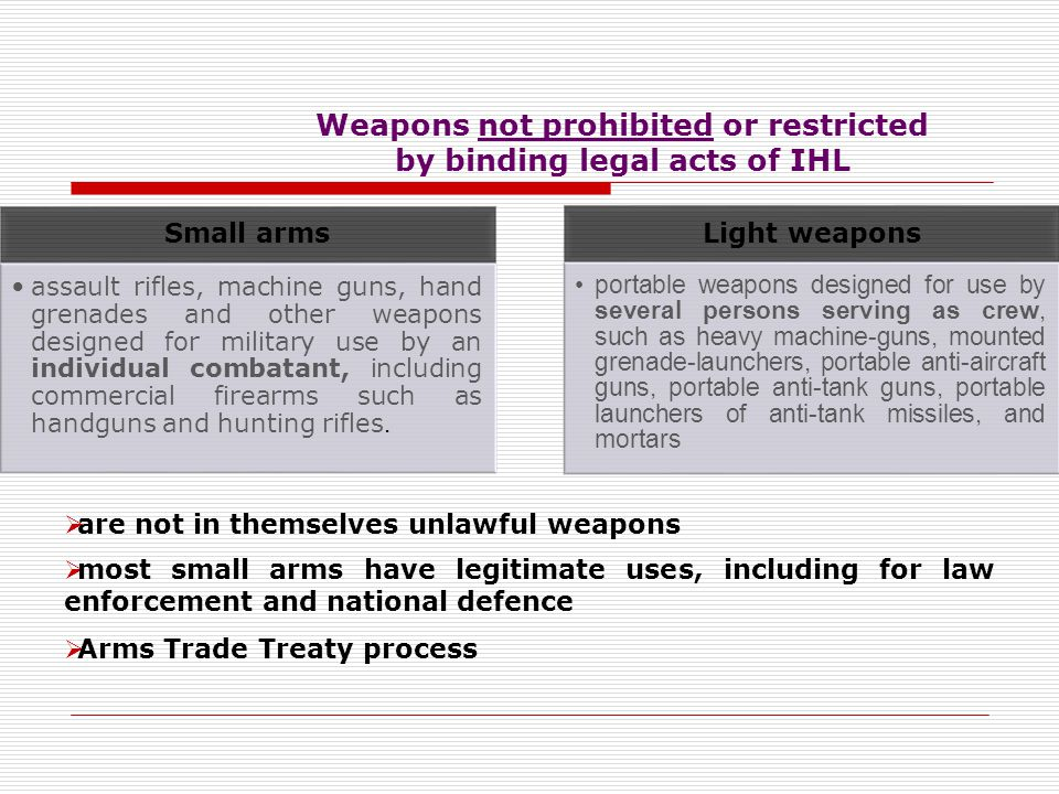 Weapons not prohibited or restricted by binding legal acts of IHL