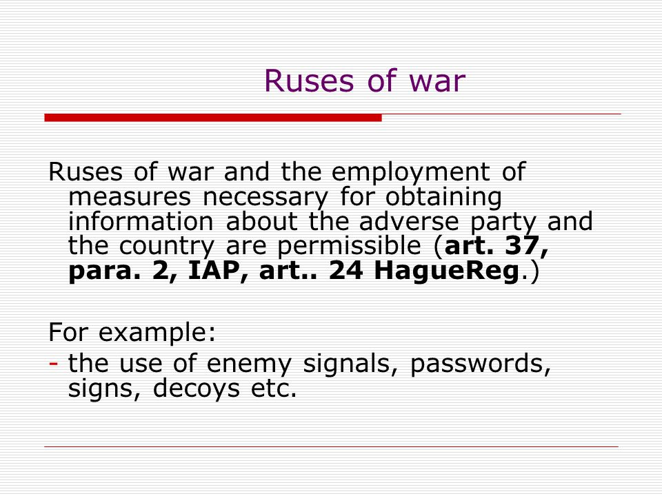 Ruses of war
