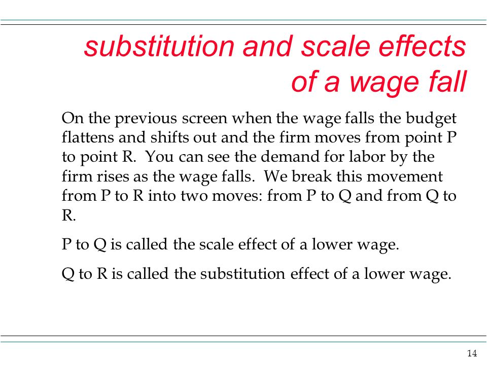 substitution and scale effects of a wage fall