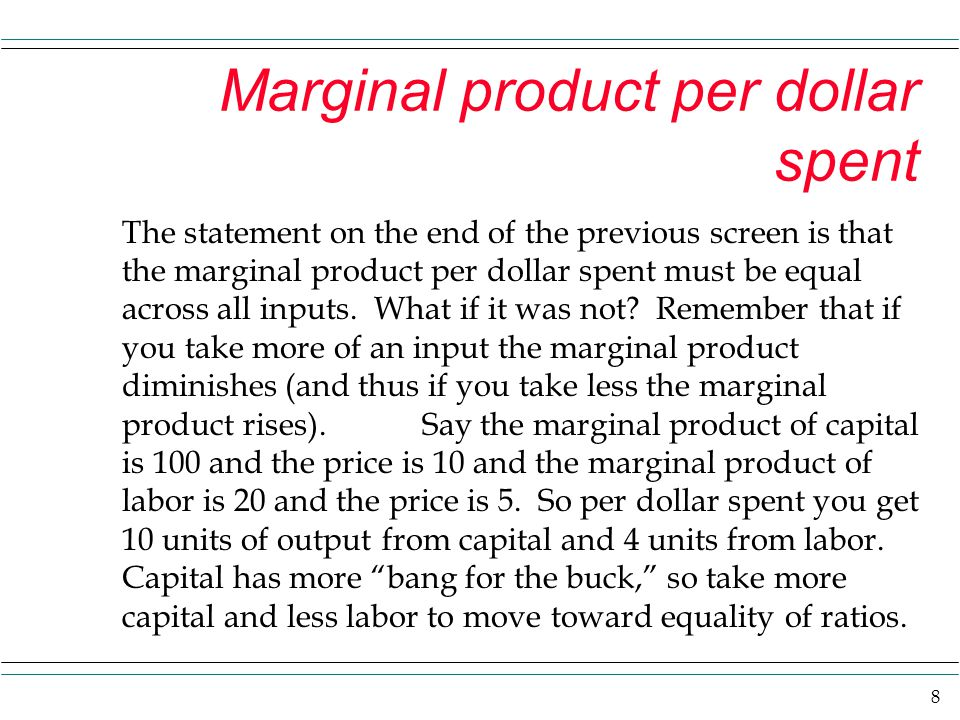 Marginal product per dollar spent