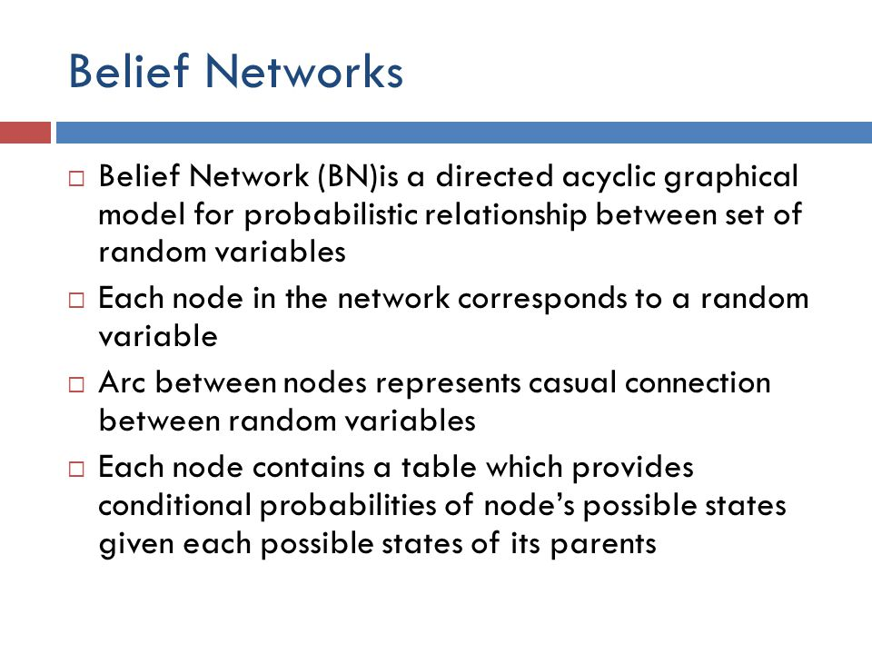 Belief Networks Belief Network (BN)is a directed acyclic graphical model for probabilistic relationship between set of random variables.