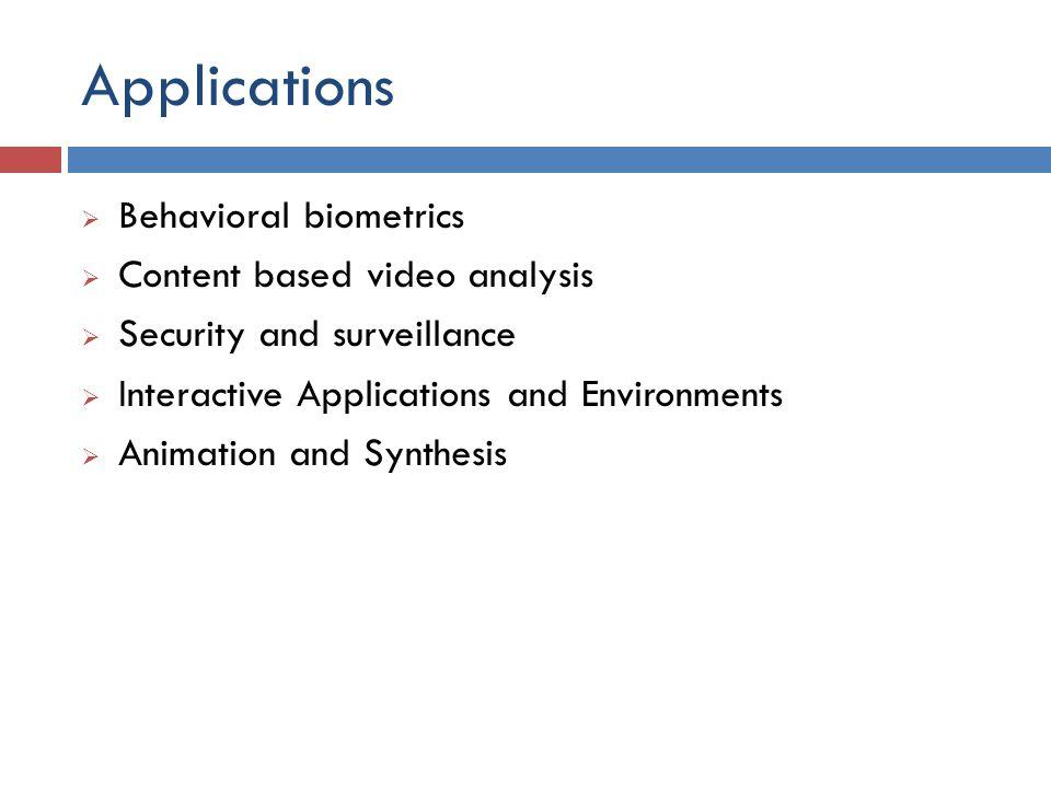 Applications Behavioral biometrics Content based video analysis