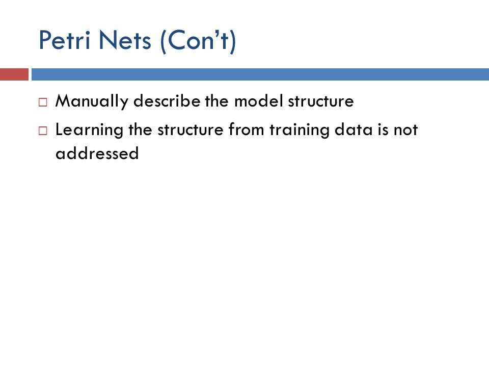 Petri Nets (Con't) Manually describe the model structure