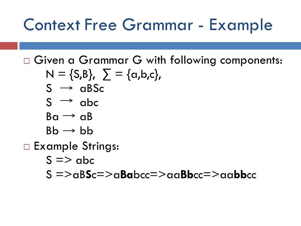 Context Free Grammar - Example