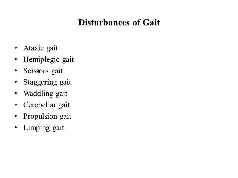 Disturbances of Gait Ataxic gait Hemiplegic gait Scissors gait