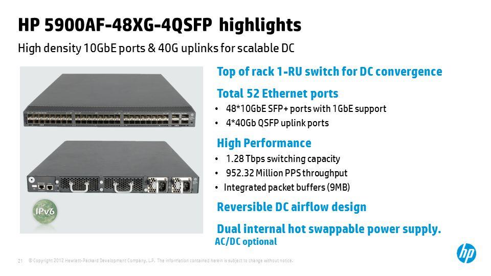 HP 5900AF-48XG-4QSFP highlights