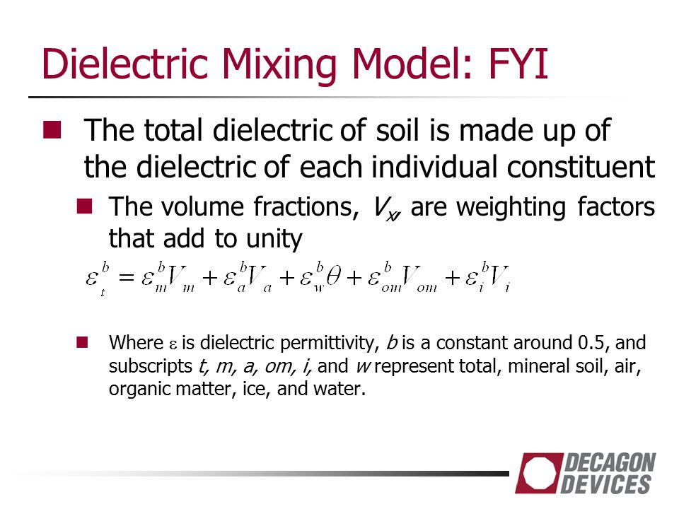Dielectric Mixing Model: FYI