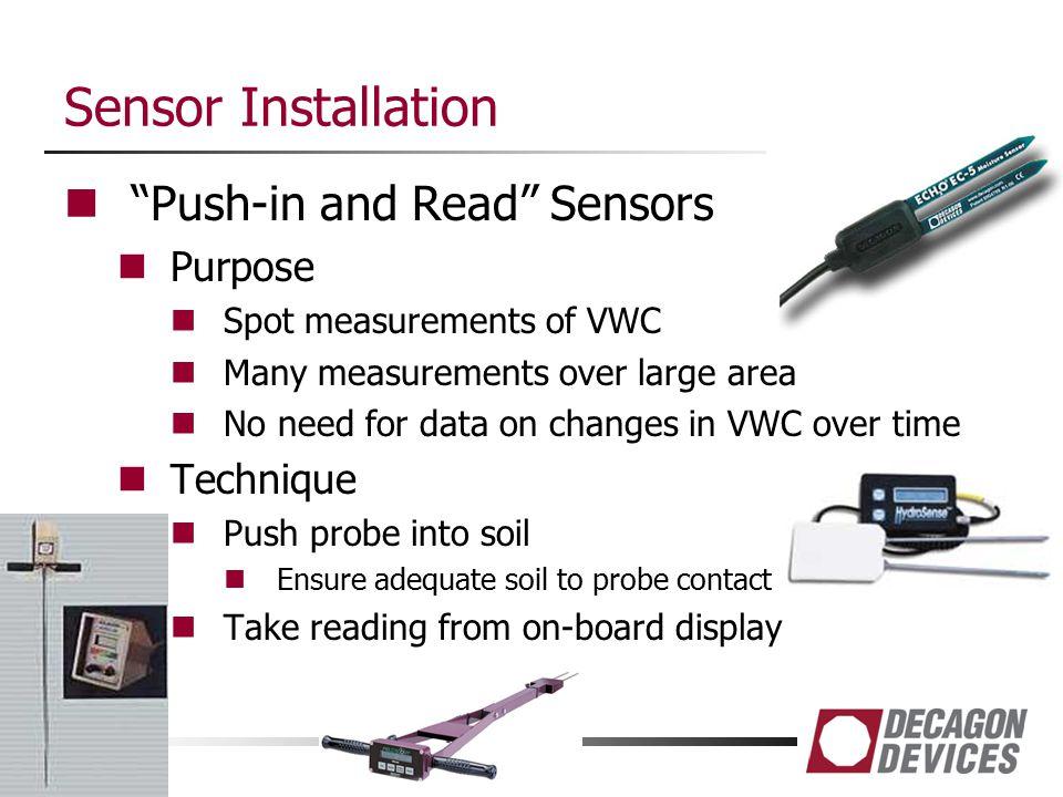 Sensor Installation Push-in and Read Sensors Purpose Technique