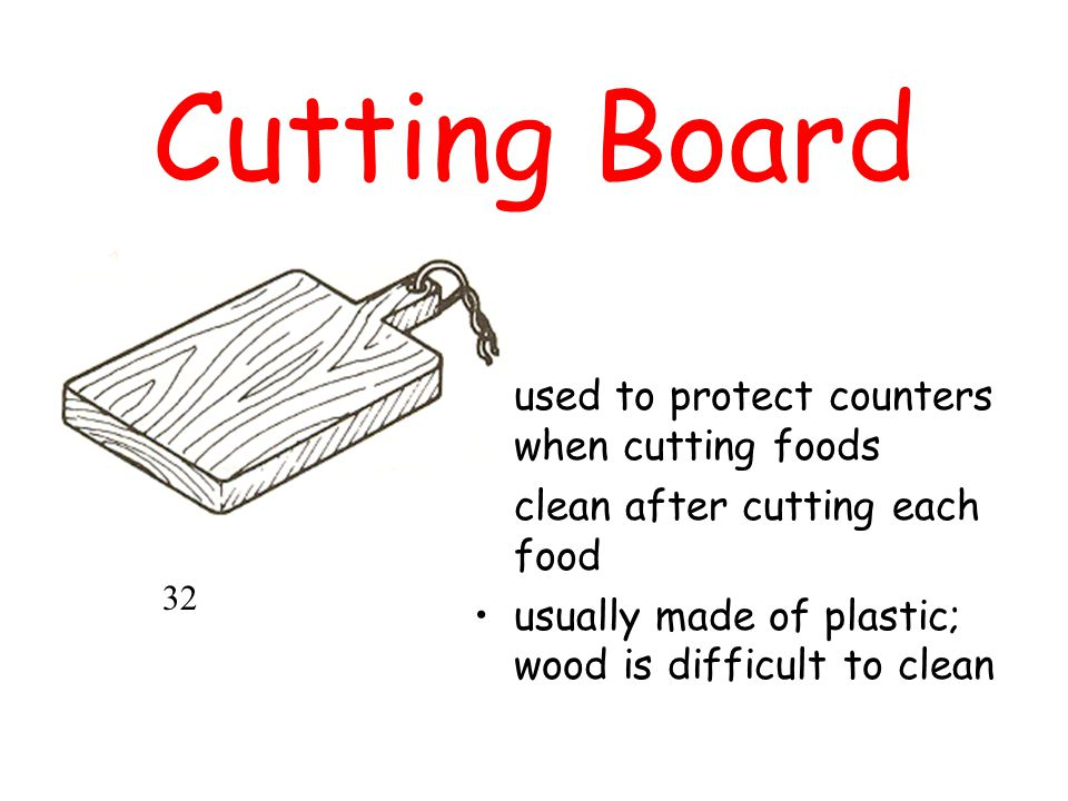 Cutting Board used to protect counters when cutting foods