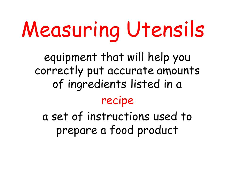 a set of instructions used to prepare a food product