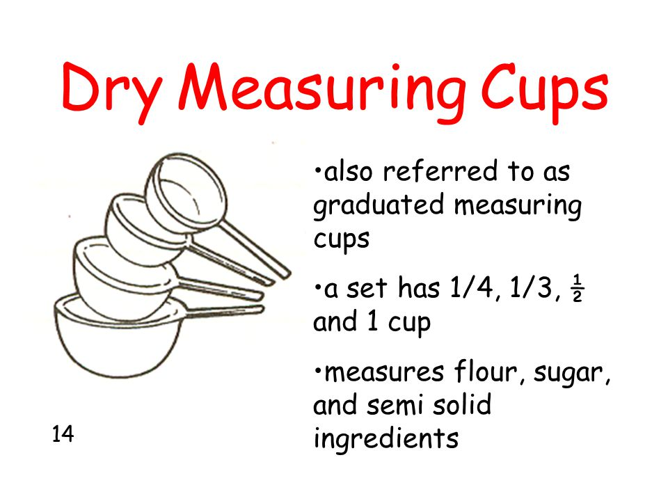 Dry Measuring Cups also referred to as graduated measuring cups
