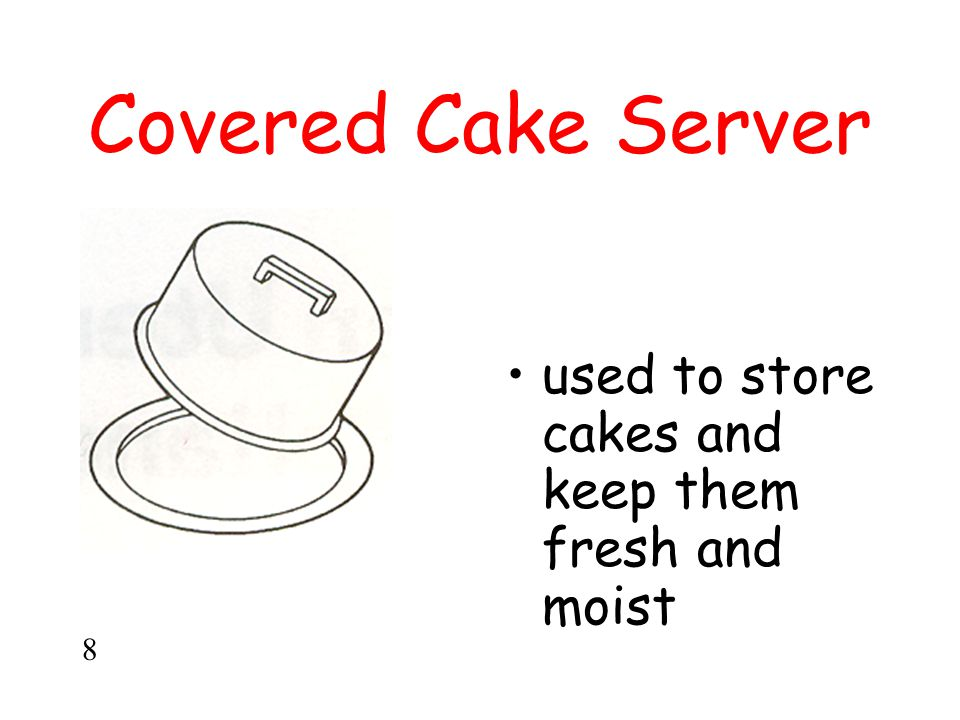 Covered Cake Server used to store cakes and keep them fresh and moist