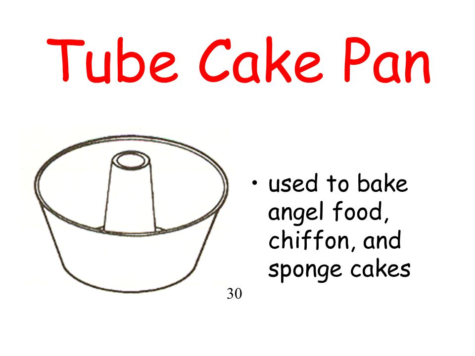 Tube Cake Pan used to bake angel food, chiffon, and sponge cakes 30