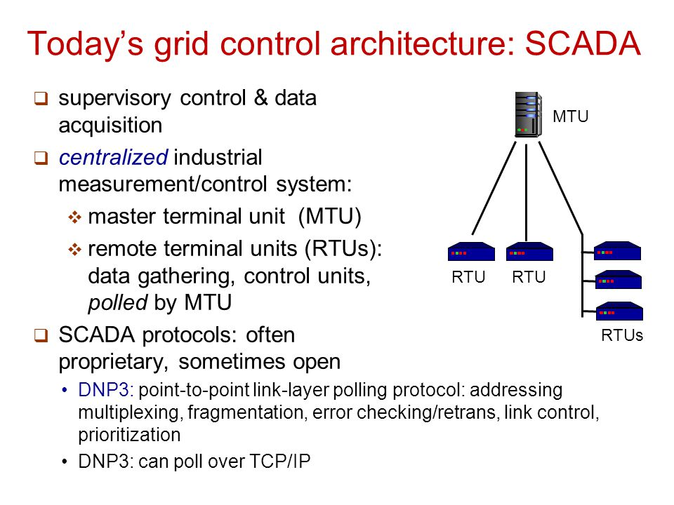 Today's grid control architecture: SCADA