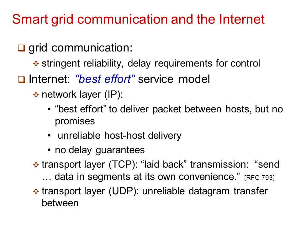 Smart grid communication and the Internet