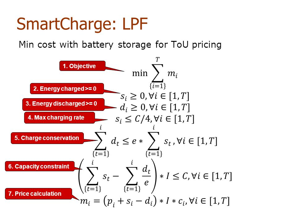 SmartCharge: LPF Min cost with battery storage for ToU pricing