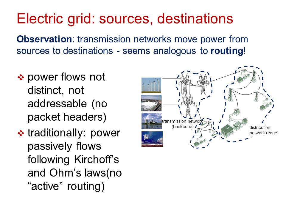 Electric grid: sources, destinations
