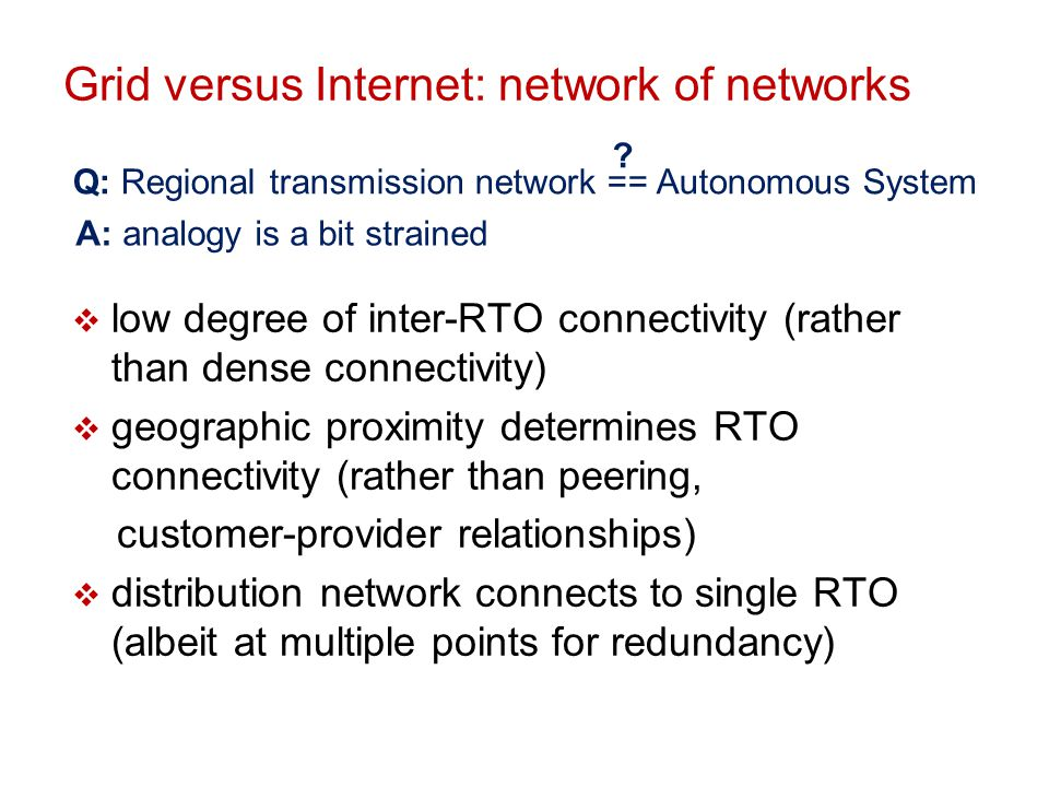 Grid versus Internet: network of networks