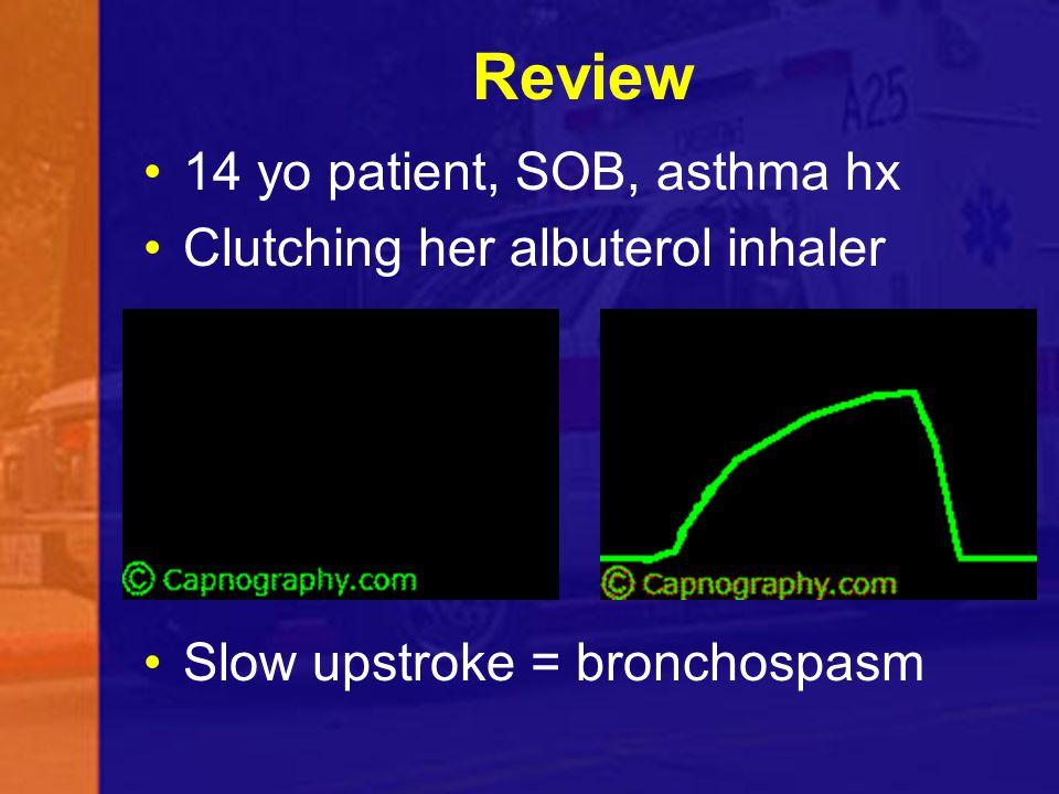 Review 14 yo patient, SOB, asthma hx Clutching her albuterol inhaler