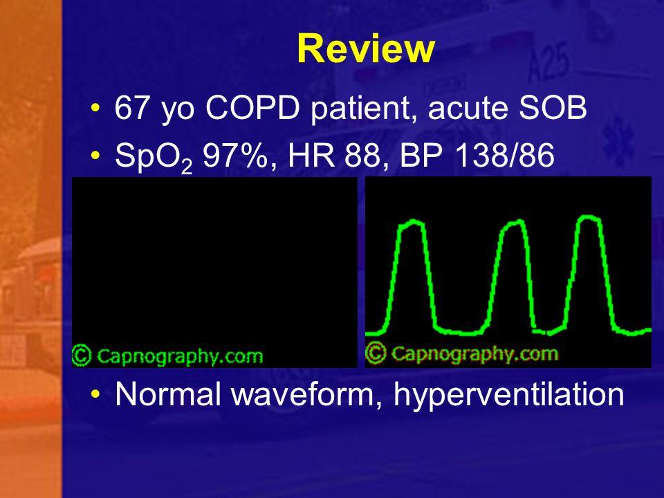Review 67 yo COPD patient, acute SOB SpO2 97%, HR 88, BP 138/86