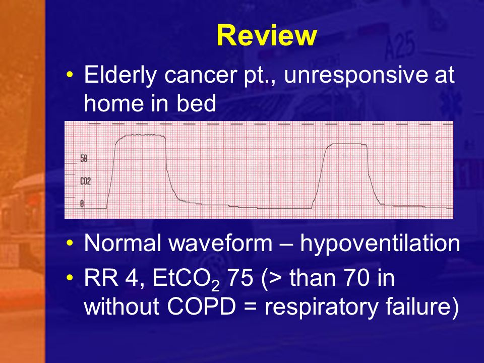 Review Elderly cancer pt., unresponsive at home in bed