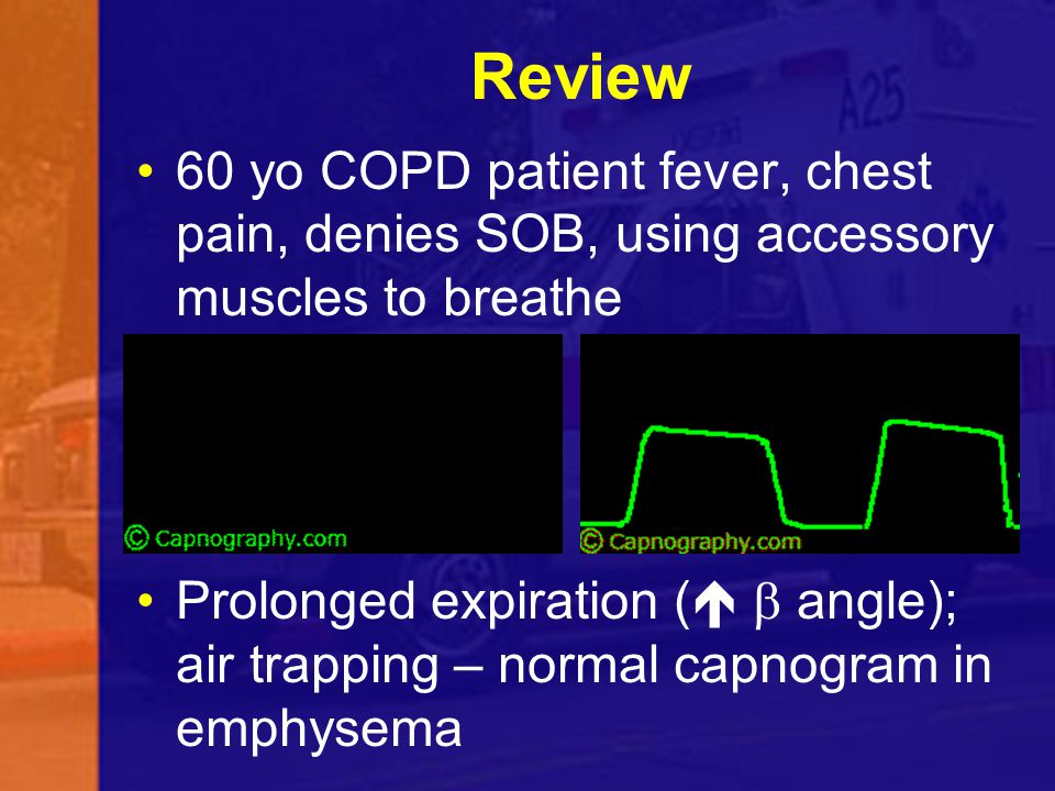 Review 60 yo COPD patient fever, chest pain, denies SOB, using accessory muscles to breathe.