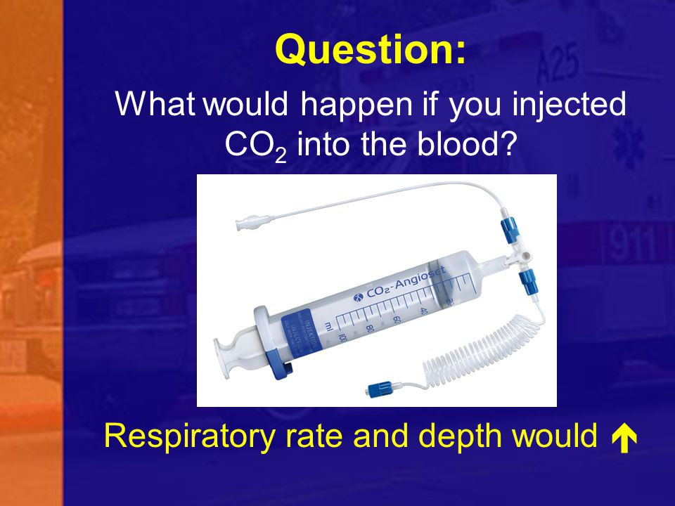 Question: What would happen if you injected CO2 into the blood Respiratory rate and depth would 