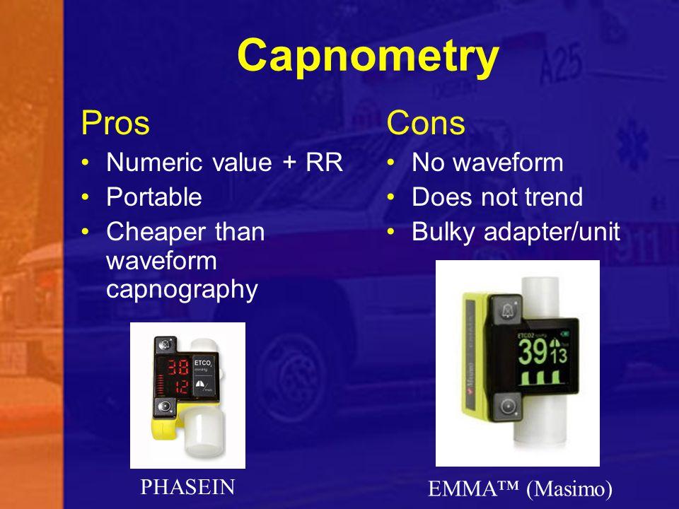 Capnometry Pros Cons Numeric value + RR Portable