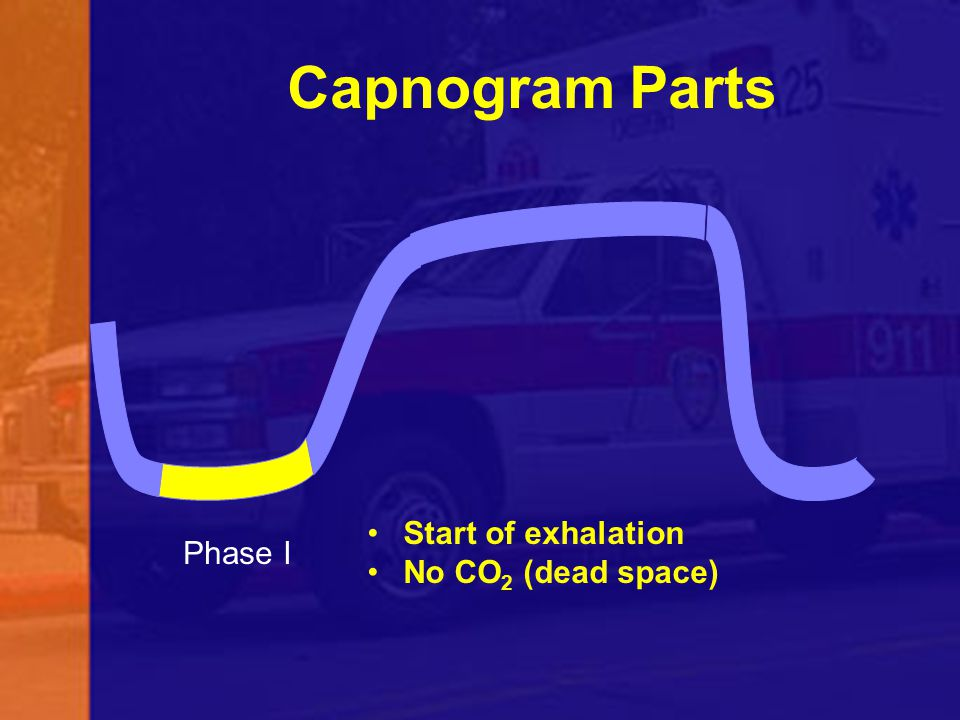 Capnogram Parts Start of exhalation No CO2 (dead space) Phase I 57
