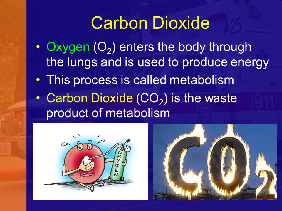 Carbon Dioxide Oxygen (O2) enters the body through the lungs and is used to produce energy. This process is called metabolism.