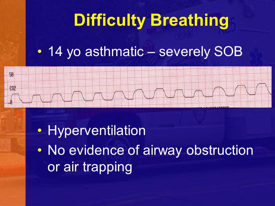 Difficulty Breathing 14 yo asthmatic – severely SOB Hyperventilation