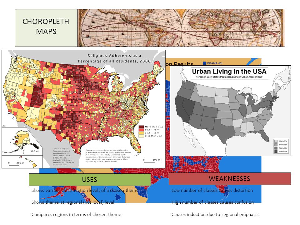 CHOROPLETH MAPS USES WEAKNESSES