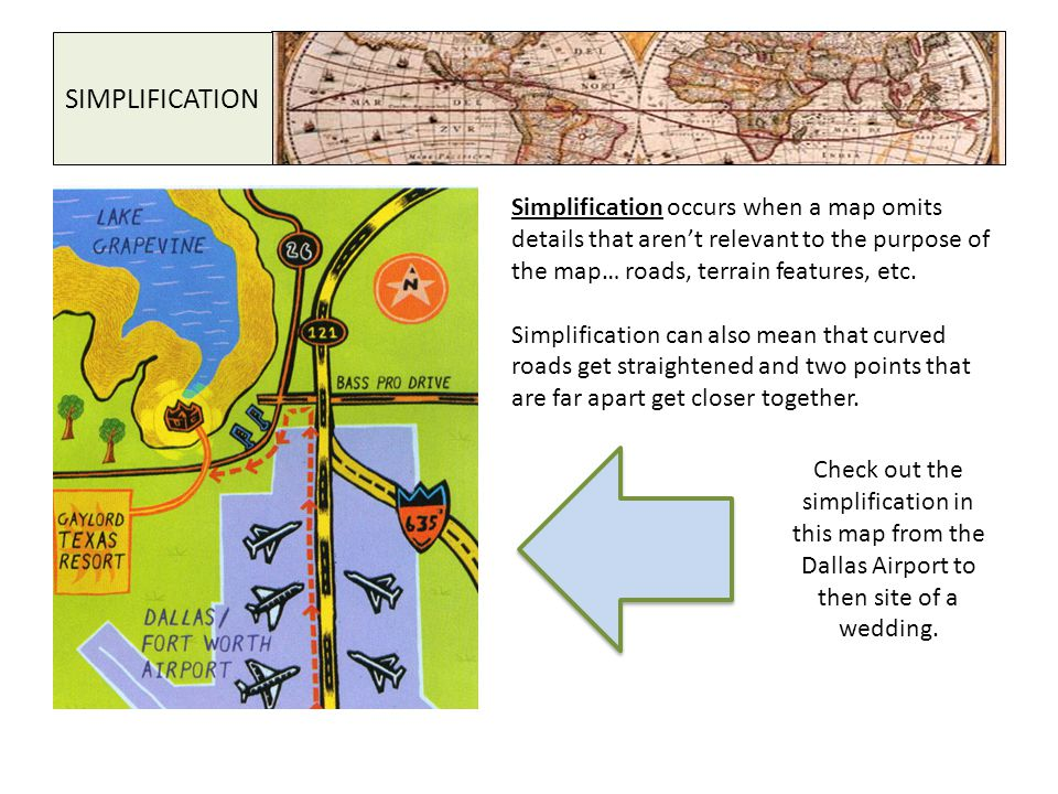 SIMPLIFICATION Simplification occurs when a map omits details that aren't relevant to the purpose of the map… roads, terrain features, etc.