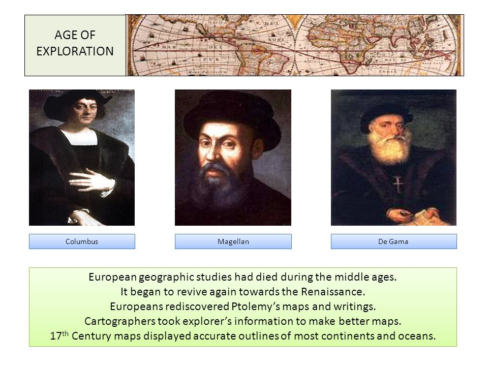 AGE OF EXPLORATION Columbus. Magellan. De Gama. European geographic studies had died during the middle ages.
