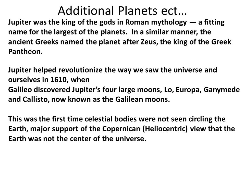 Additional Planets ect…