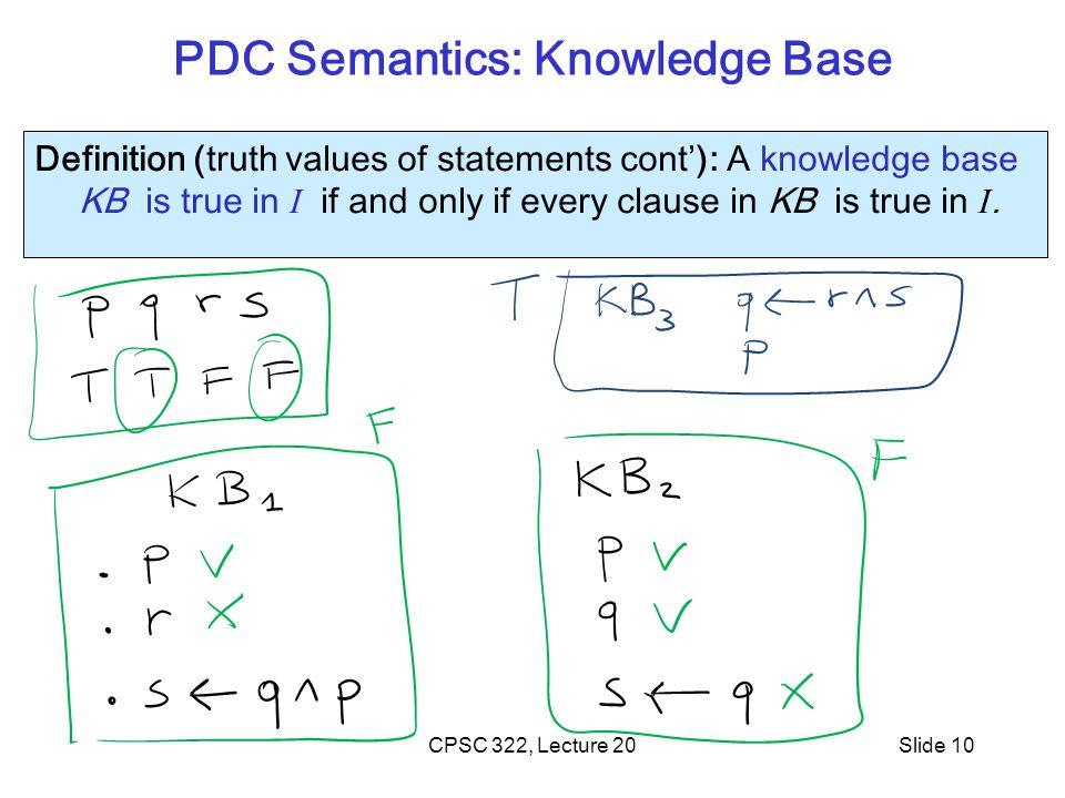 PDC Semantics: Knowledge Base