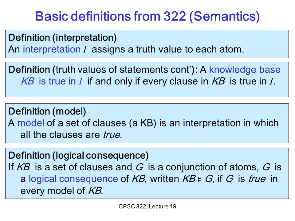 Basic definitions from 322 (Semantics)